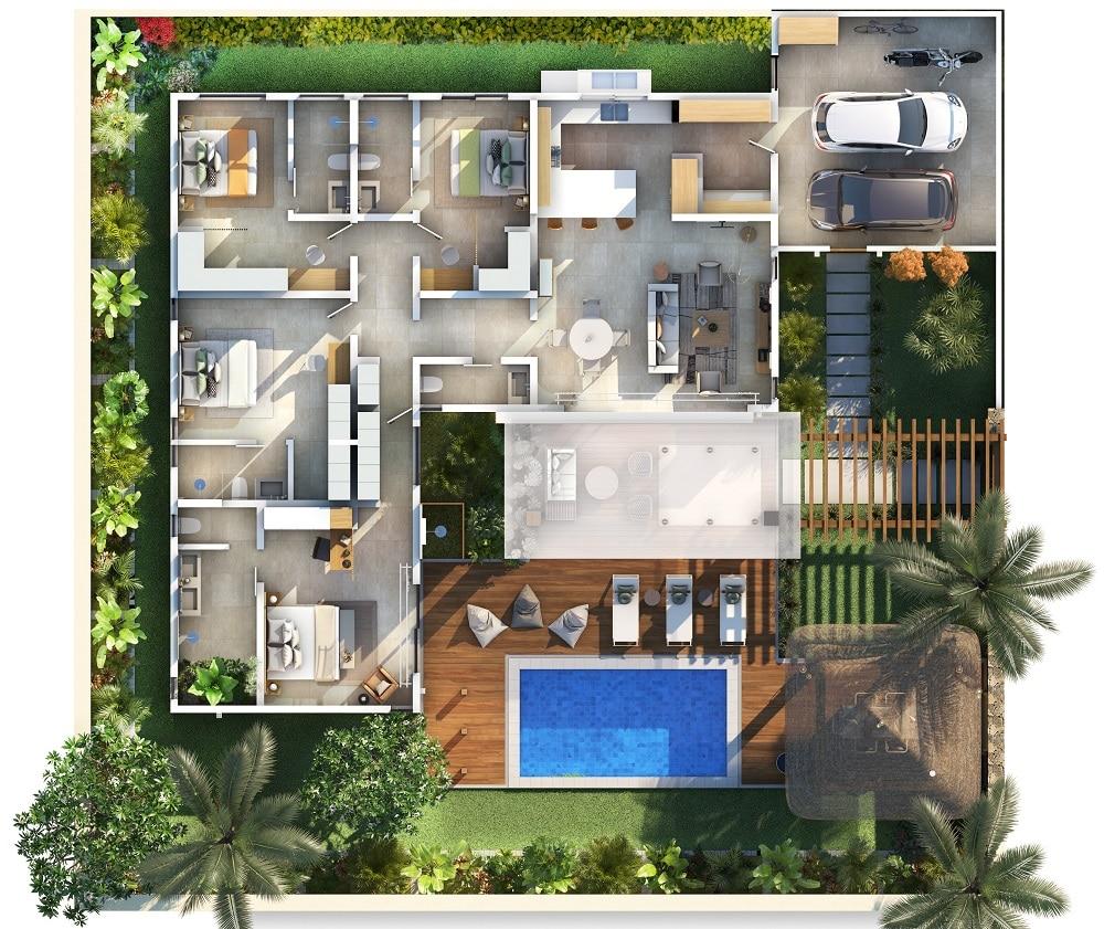 Plan Villa Kamirra Vente villa luxe ile maurice